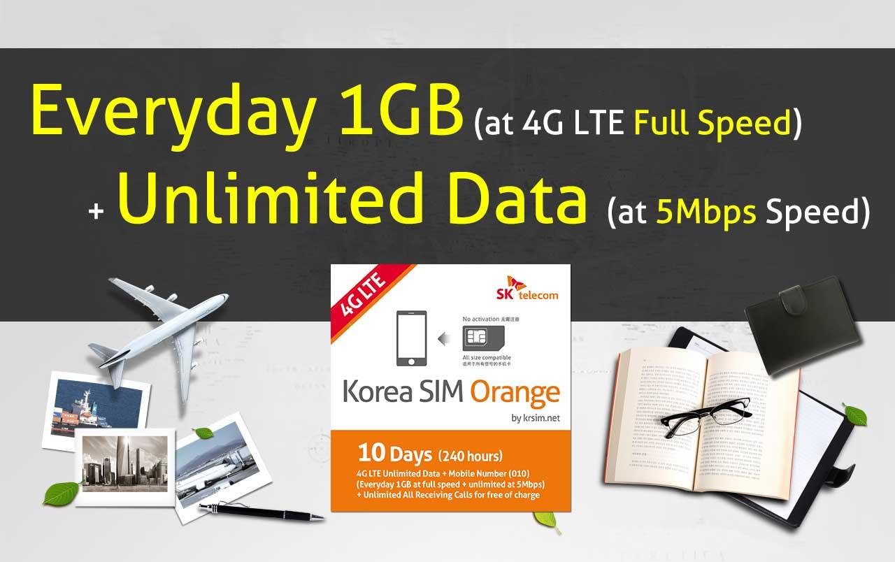 Korea sim orange best korean unlimited data prepaid usim for trip 4g lte unlimited data reheart Image collections
